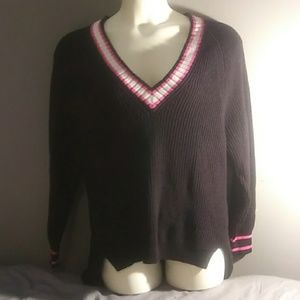 Express Sweater Black with white and pink stripes.